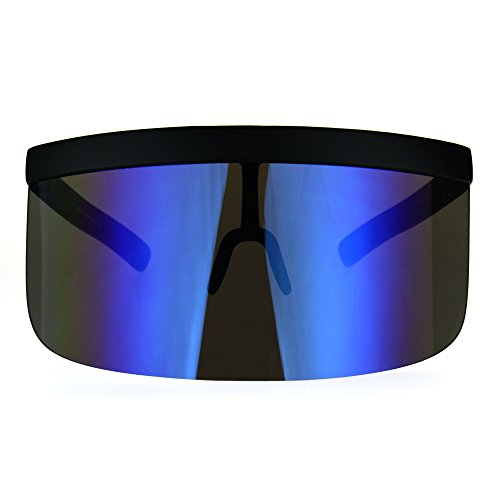 Extra Oversize Visor Style Huge Mask Color Mirror Funky Sunglasses Blue by SA106 (Image #1)