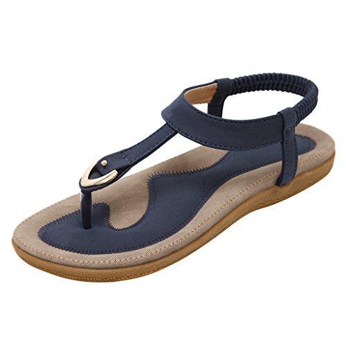 (Dear Time Slingback T-Strap Flip Flop Women Ankle Strap Thong Sandals Blue US 8.5)