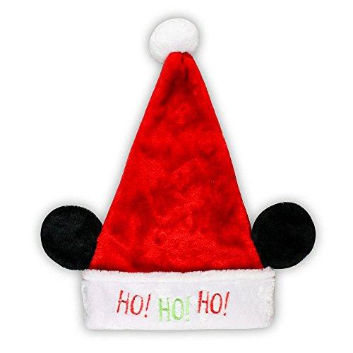 Disney Mickey Mouse Minnie Mouse Plush Santa Hat with Ears (Mickey Mouse, Ho Ho Ho)