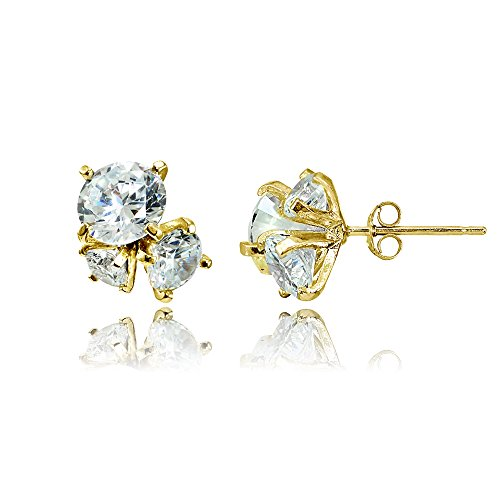 Sterling Silver Cubic Zirconia Round Cluster Graduated Three Stone Stud Earrings (3 Stone Cluster Earrings)
