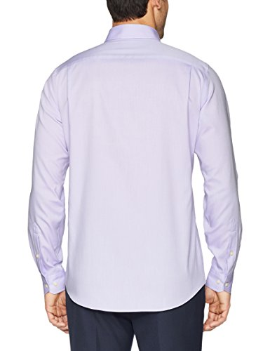 Buttoned Down Men's Tailored Fit Button-Collar Solid Non-Iron Dress Shirt (No Pocket), Purple, 16.5'' Neck 35'' Sleeve by Buttoned Down (Image #4)