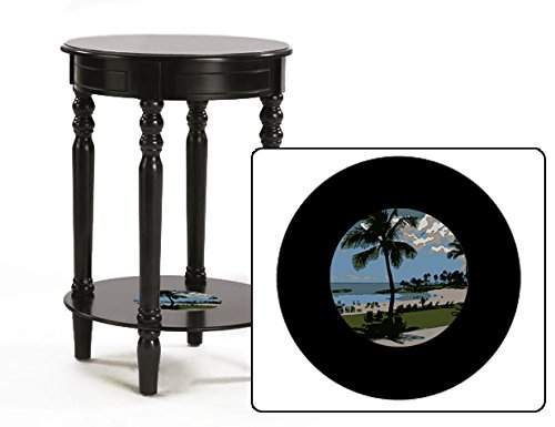 New Black Finish Round Top Night Stand End Table featuring Hawaii Logo by The Furniture Cove