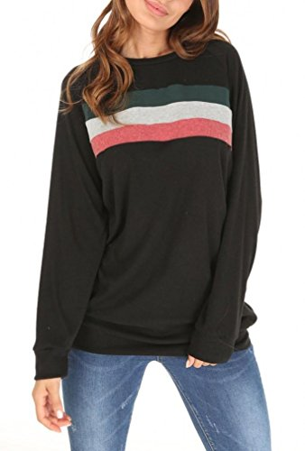She's Style Women's Cotton Knitted Long Sleeve Round Neck Loose Casual Lightweight Tunic Sweatshirt Tops Color 3 Size - Sleeve Long Cotton Sweatshirt