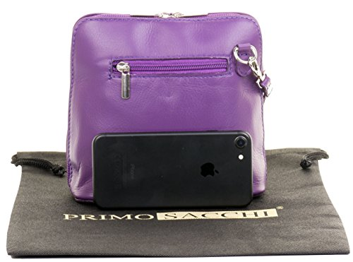 Primo Made Small Leather Handbag Soft Sacchi or Micro Italian Shoulder Bag Bag Cross Hand Purple Body fXqxHTrfw