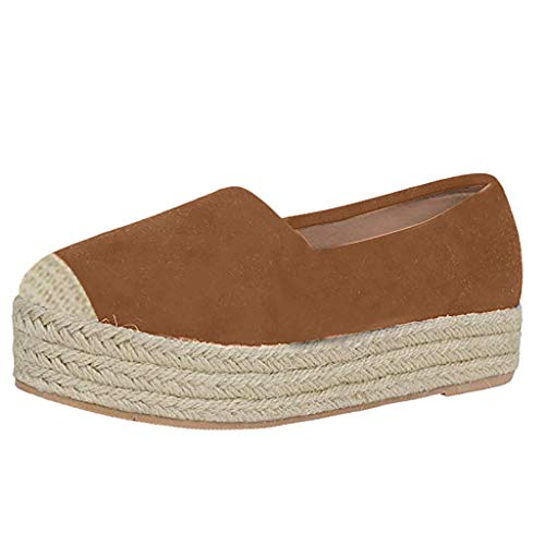 Espadrille Flats for Women, Slip on Espadrille Loafers Sneakers Shoes Ladies Canvas/Faux-Suede Espadrilles Brown