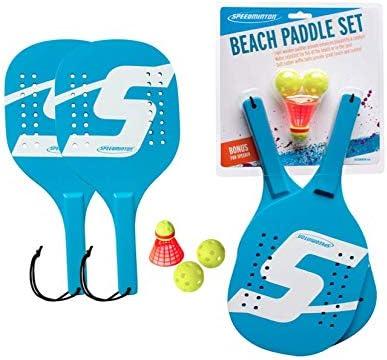 Balls Fun To Tennis /& Racquet Sports Light Wooden Beach Paddle Player Set Incl