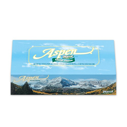 Marcal Pro Aspen Facial Tissue - 100% Recycled, 2-Ply, White Tissues - 144 Sheets Per Box, 36 Flat Office Tissue Boxes per Case 03305 by Marcal (Image #3)