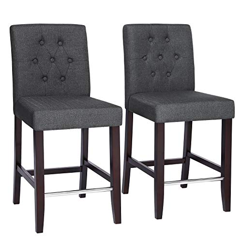 SONGMICS Set of 2 Bar Stools Kitchen Breakfast Chairs, with Button Tufted Backrest, Linen-Style Fabric, Solid Wood Legs, with Footrest, Dark Gray ULDC34GY (Grey Counter Linen Stool)