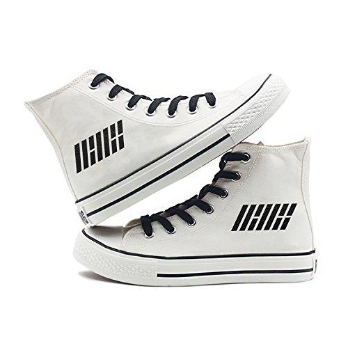 Fanstown Kpop Sneakers Canvas Schoenen Dames Wit Fanshion Memeber Hiphop Style Support Voor Fans Met Lomo Card Ikon