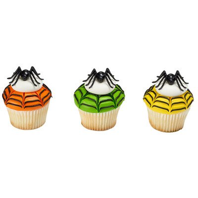 Small Spider Layon Halloween Cupcake Cake Decorations - 24 pc