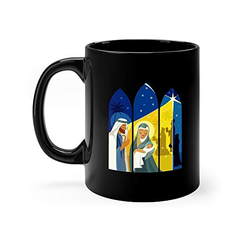 (Nativity Scene In Window Framing Swag Coffee Awesome Mugs Ceramic Cup 11 Oz)