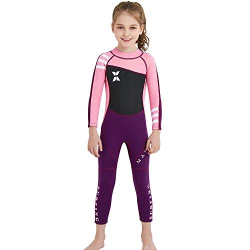 Paddling Suit - Dark Lightning Kids Wetsuit Full Thermal Suit, Grils Neoprene One Piece Fishing Suits, 2mm Long Sleeve Swimsuit for Children Scuba Diving, Surfing, Paddling, Swimming, Pink, S Size