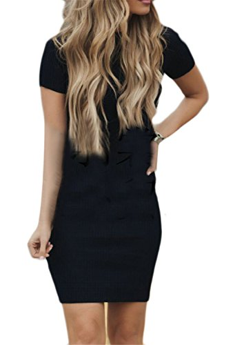 Banded Color Pure Collar Women's Short Sleeve Jaycargogo Slim Dresses Fitted Black Temperament wq16x7C5