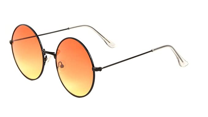 93b33d57f XL Round Oversized Classic Lennon Circle Lens Sunglasses (Black Frame,  Peach & Yellow Gradient