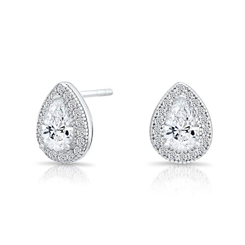 - Small Sterling Silver Halo Teardrop Stud Earrings with Cubic Zirconia