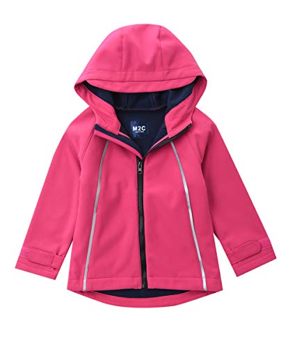 M2C Girls Hooded Fleece Lined Windproof Softshell Jacket Pink 6T