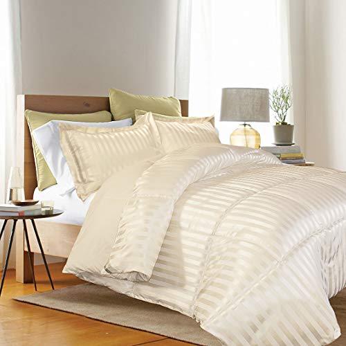 Kathy ireland - ESSENTIALS Microfiber Damask Stripe/Solid 3-PC Reversible Set King in Bone Color Down Down Alternative Comforter,