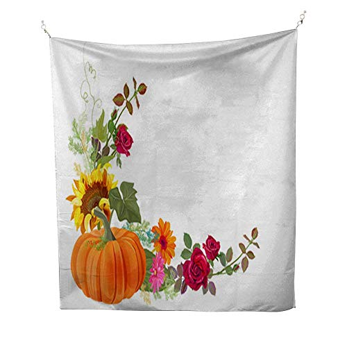 Analisahome Room tapestrybedroom tapestryAngled Autumn's Frame with Pumpkin Orange Yellow Sunflowers red Roses Gerbera Daisy Flowers Thistle Small Green Twigs on 51W x 60L ()