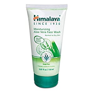 Himalaya Moisturizing Aloe Vera Face Wash & Cleanser, Soap-Free for Normal to Dry Skin 5.07oz/150ml