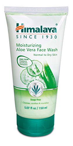 Herbal Moisturizing Cleanser - Himalaya Moisturizing Aloe Vera Face Wash & Cleanser, Soap-Free for Normal to Dry Skin 5.07oz/150ml
