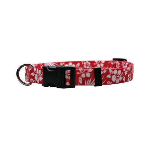 "Aloha Red Dog Collar - Size Small 10"" to 14"" Long - Made In The USA"