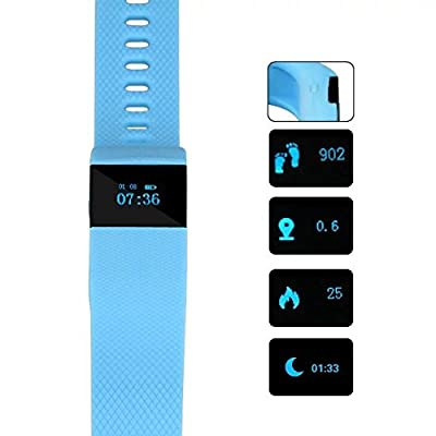 SEFREE TW64Bluetooth 4.0 Smart Fitness sport Tracker Wristband for ios and andorid ,Blue(call reminder,Waterproof,Pedometer,Wireless Activity and Sleep Monitor)