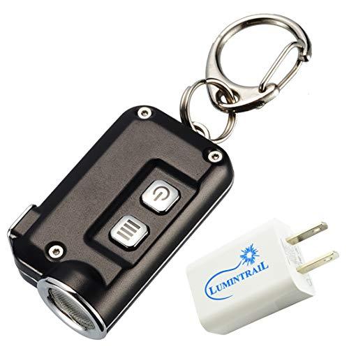 NITECORE TINI USB Rechargeable Keychain Flashlight - 380 Lumens Black with a Lumintrail USB Wall Adapter