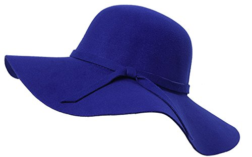 Young_Me Women's Foldable Wide Brim Wool Ribbon Band Floppy Hat - Hat Band Wool Felt