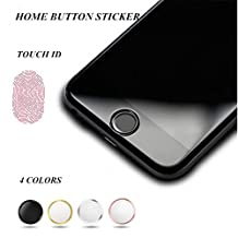 OWIKAR 4 Packs Home Button Sticker-Touch ID Button (Support Fingerprint Indentification System Touch ID) for iPhone 7 7 Plus 6S Plus 6S 6 Plus 6 5S SE iPad mini 3, iPad Air 2, iPad Mini 4