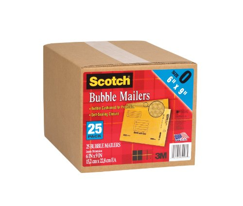 Scotch Bubble Mailer, 6 x 9-Inches, Size #0, 25-Pack