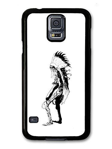 Skeleton Skull Native Feather Aztec Cool Style Black And White Illustration coque pour Samsung Galaxy S5