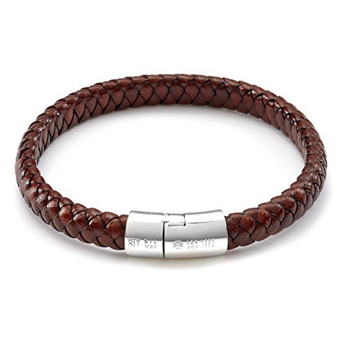 Tateossian Men's Leather Classic Cobra Bracelet with Silver Clasp, Large 19cm - Brown
