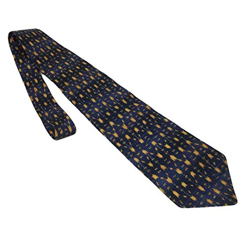 Ferrell Reed Men's Silk Classic Necktie Blue Gold Abstract Print Tie with Gift Box