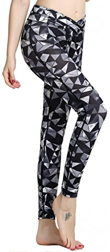 Fastorm colorful Print Yoga Pants Workout Leggings Gym Sports Tights For Women Grey (Abstract Print Mini Dress)
