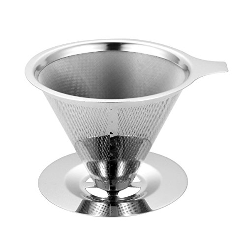 Coffee Maker Filter, OG-EVKIN Paperless Pour Over Stainless Steel Reusable Drip Cone Coffee Filter with Cup Stand