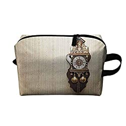 Clock Multi-functional make-up bag An Antique Style Wood Carving Clock with Roman Numerals Hanging on the Wall Design K11.4xG15.7 Wear-resistant fashion