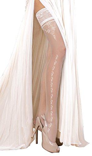 Unbekannt Ballerina Halterlose Strümpfe, weiss, mit Muster, Strapsoptik | Hochzeitsstrümpfe