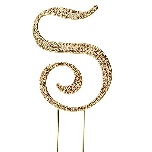 4.5-Inch tall Gold Letter S Crystal Rhinestone Cake Topper - Personalized Monogram Wedding Birthday Party Decorations (Monogram Tablecloth)