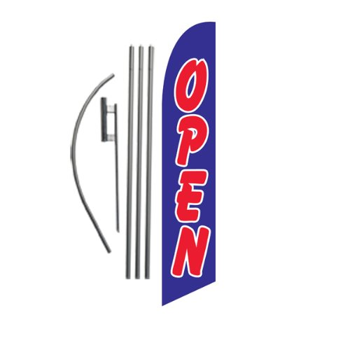 Open Advertising Feather Banner Swooper Flag Sign with 15 Foot Flag Pole Kit and Ground Stake, Blue and Red