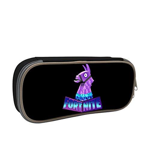 Fortnite-Logo Llamas 3D Printing Multicolor Pen Bag,Pencil case Teens Pen Container,Double Zipper Student Stationery Girl's Durable Large Volume Bag of Makeup ()