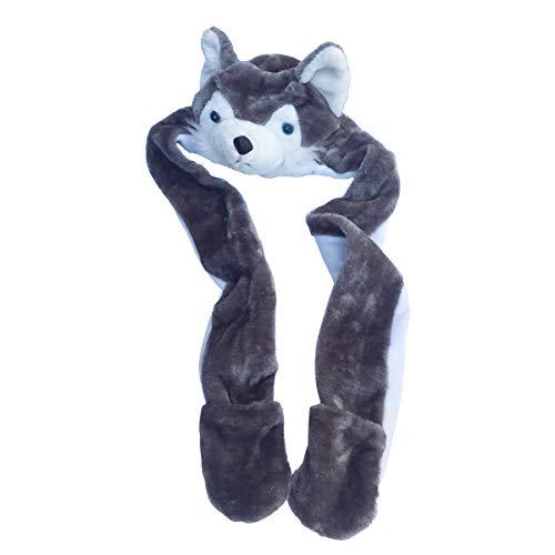 Party Animal Hats for Kids Women Men Adults Costume Plush (Grey Husky)
