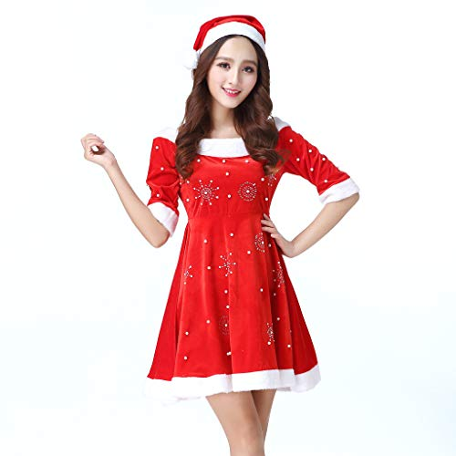 7384a44a6532 Amazon.com: Euone 🦄 Dress, Women Christmas Snowflake Pattern Dress Sexy  Ladies Off Shoulder Sleeve Appeal Dress Underwear + Red Hat: Toys & Games