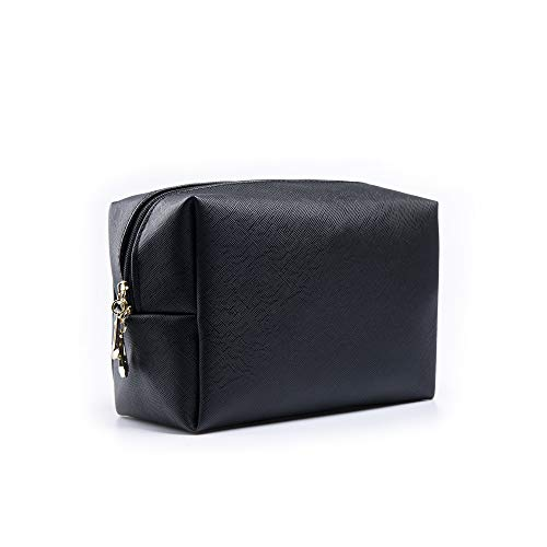 Makeup Bag Large Handy Cosmetic Bag with Zipper Toiletry Pouch Travel Bag for Brushes Storage Pouch (Black)