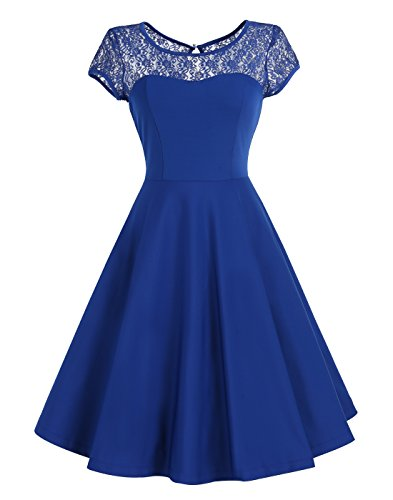 Wedtrend Women's Retro Floral Lace Bridesmaid Dress Cap Sleeve Swing Party Dress WTL10003RoyalBlueM