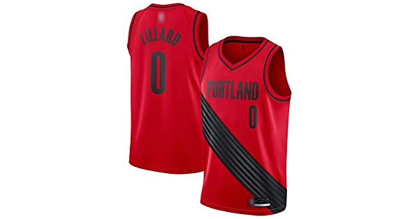 Breathable and Sweat-Absorbing NO.0 Trail Blazers Lillard Mens Basketball Jersey