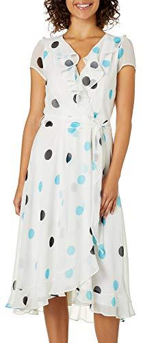 Gabby Skye Women's Polka Dot Ruffled Dress, Cream/Aqua ()