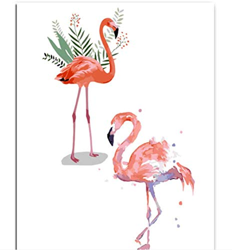 (Sykdybz Ins Flamingo Animals Frameless DIY Painting Canvas Bild Painting by Numbers for Adults Unique Gift Modern Wall Art)