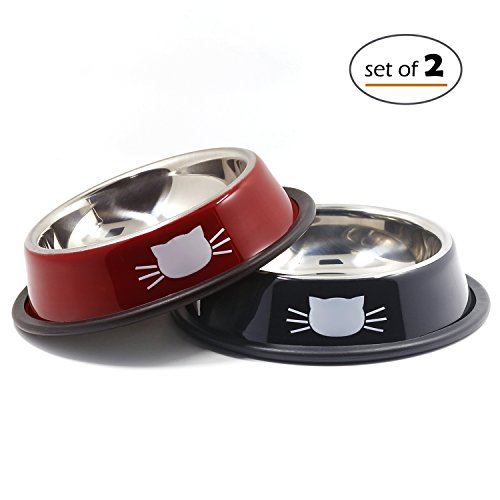Petfamily Cat Dishes Stainless Steel Bowls for Small Cats and Dogs with Non-Skid Rubber Base, Pet Food and Water Bowls, 8 Ounce, Set of 2 (Black / Red)