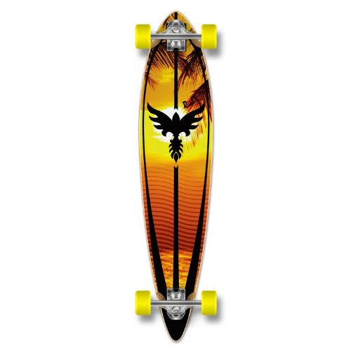 Yocaher Punked Graphic Pintail Complete Longboard Skateboard, Sunset, 40 x 9-Inch ()