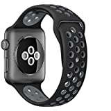Black Breathable with holes sport silicone watch Band for apple watch 42mm Bracelet Strap